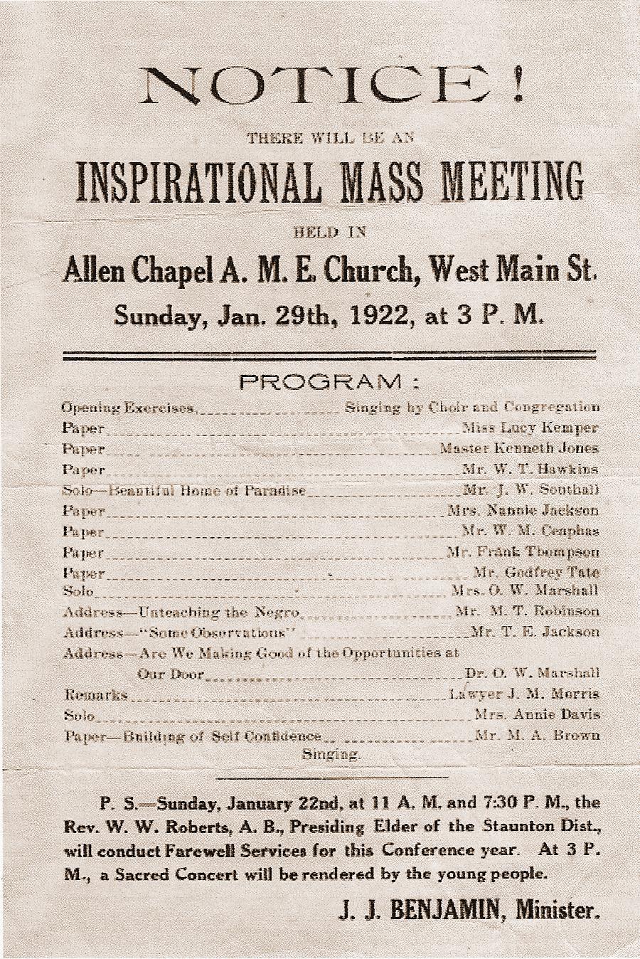 Mass meeting at Allen Chapel