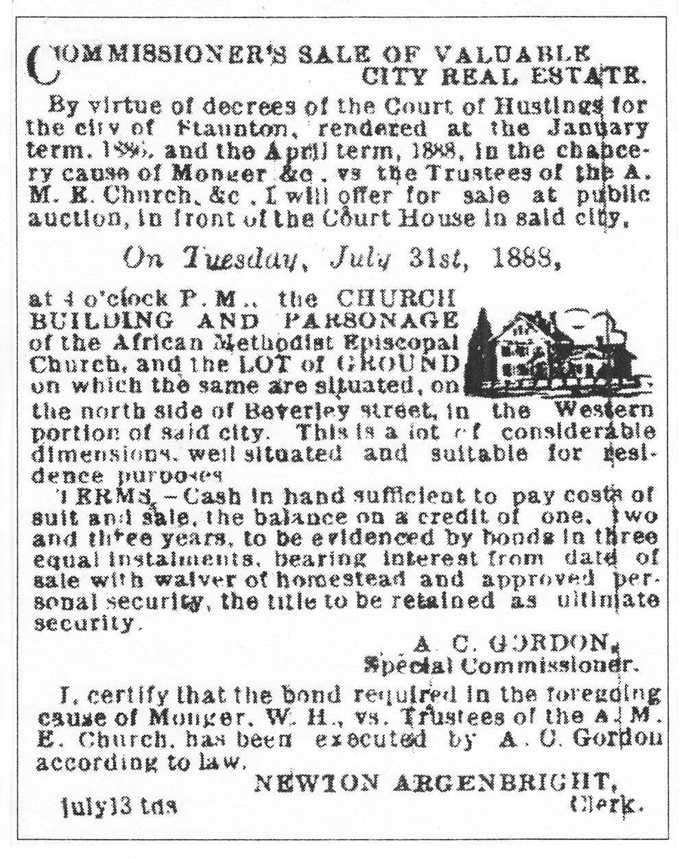 Deed notice for Allen Chapel property